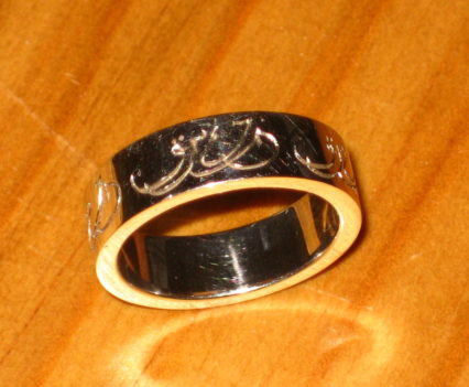 Calligraphic Engraving Wedding Ring